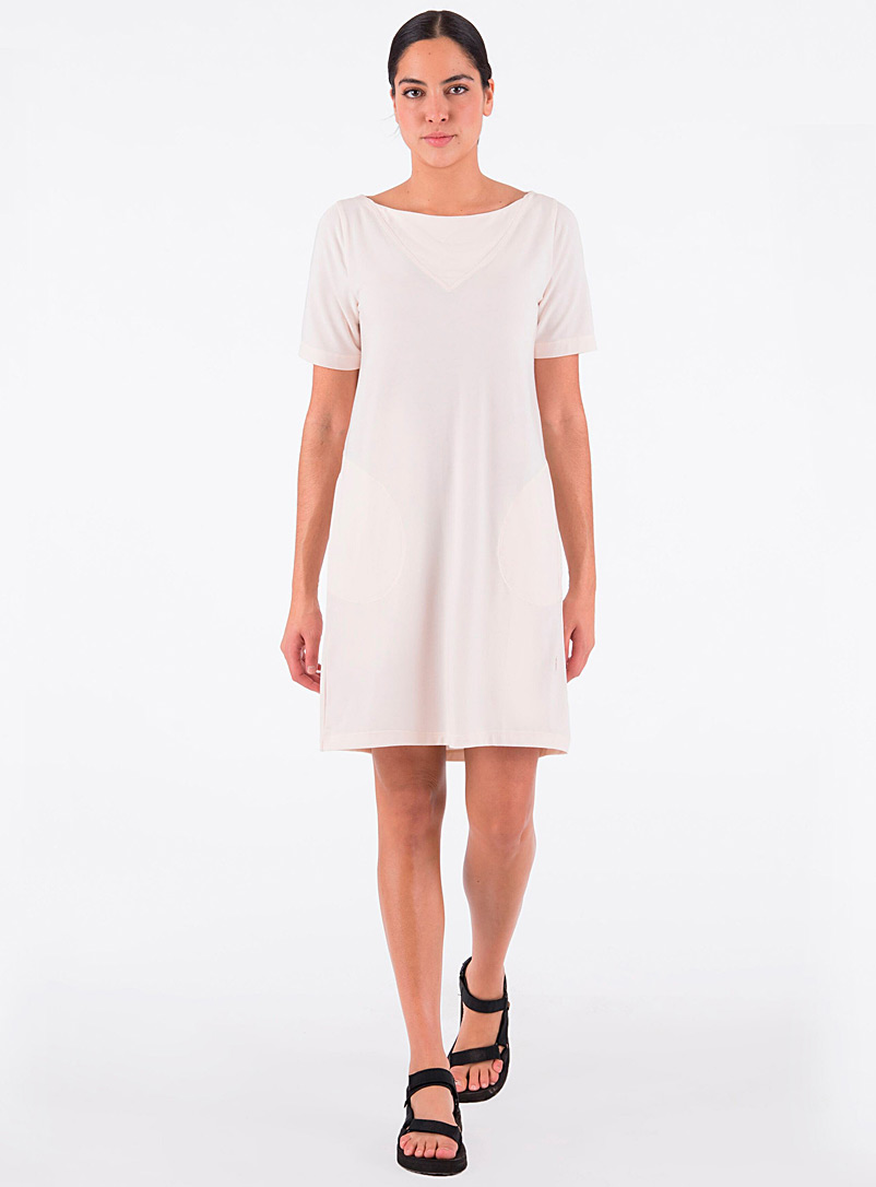 Indygena Ivory White Round pocket straight dress for women