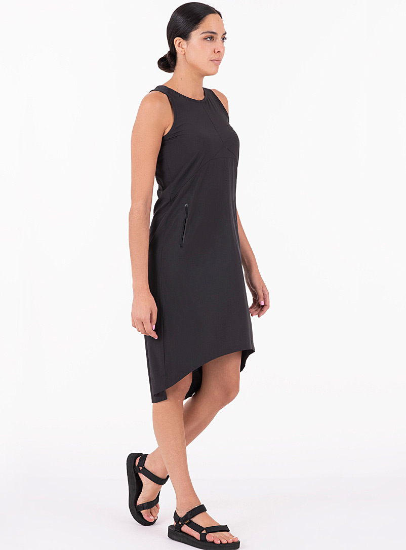 Indygena Black Openwork back shift dress for women