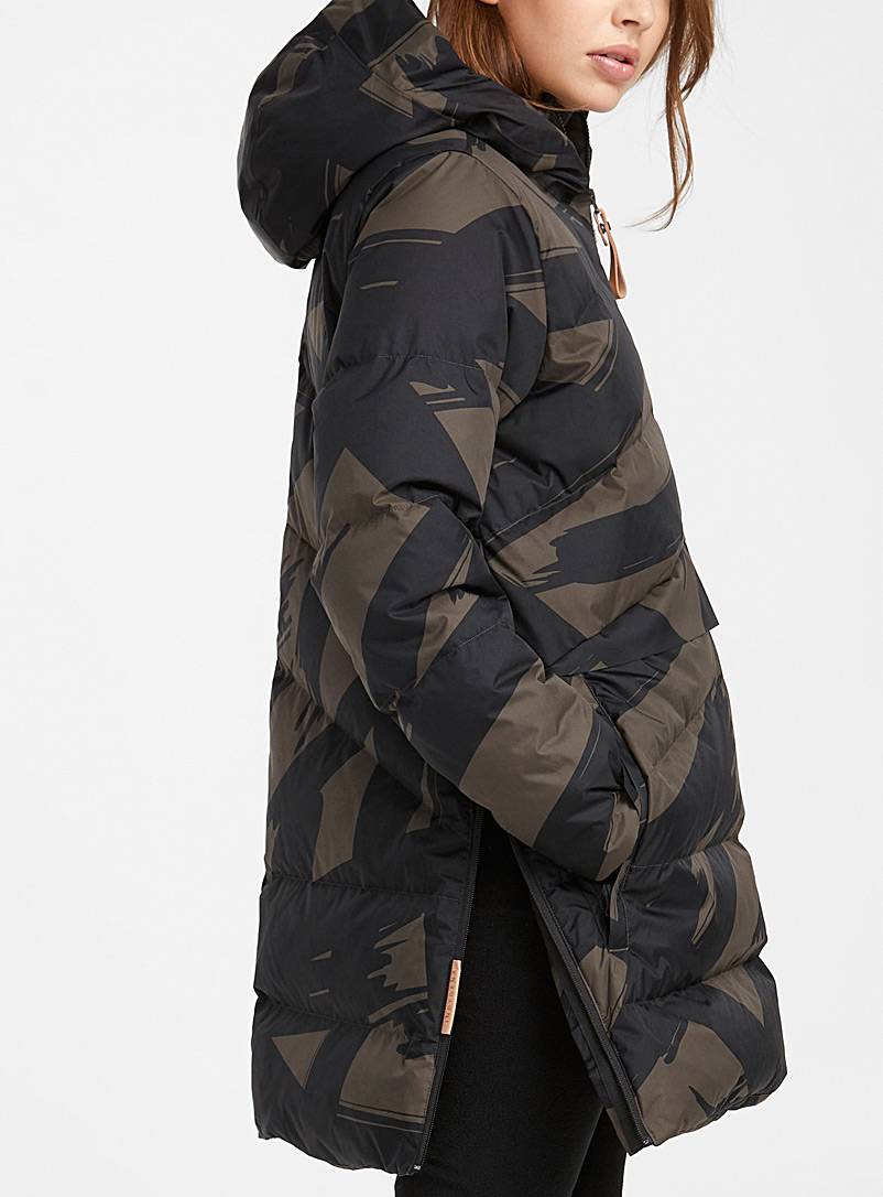 Indygena Patterned Green Simonetta quilted parka  Long fit for women