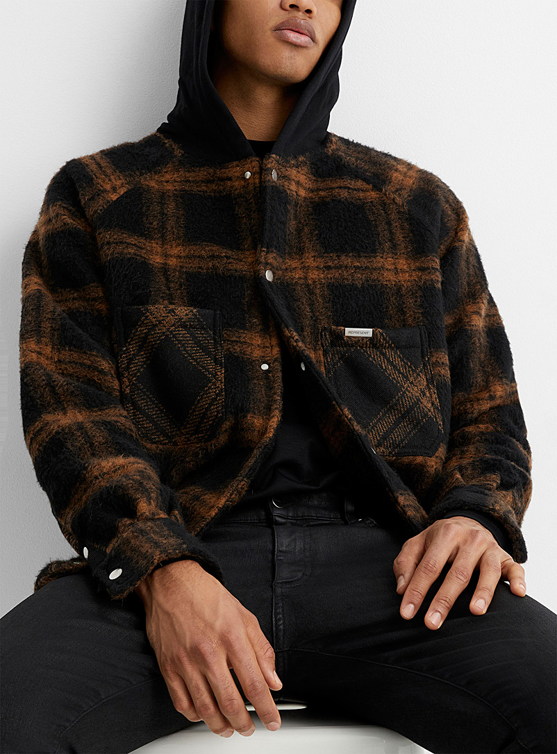 Hooded check overshirt