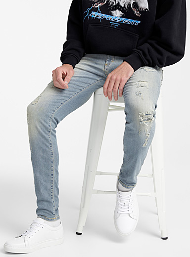 Patchwork jean <br>Super skinny fit