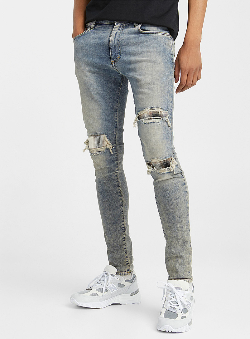 Represent Blue Patched faded jean Skinny fit for men
