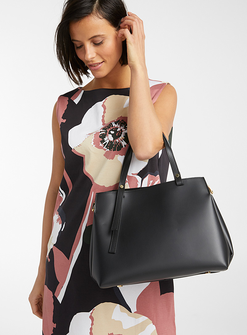 Matte leather bag - Leather and Suede - Black