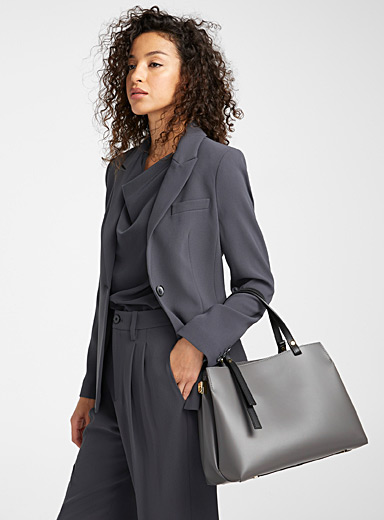Simons Dark Grey Matte leather bag for women