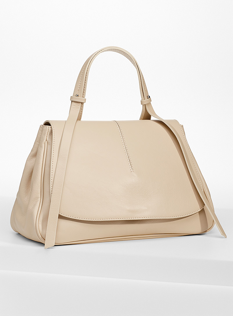 Simons Cream Beige Smooth leather large-flap bag for women
