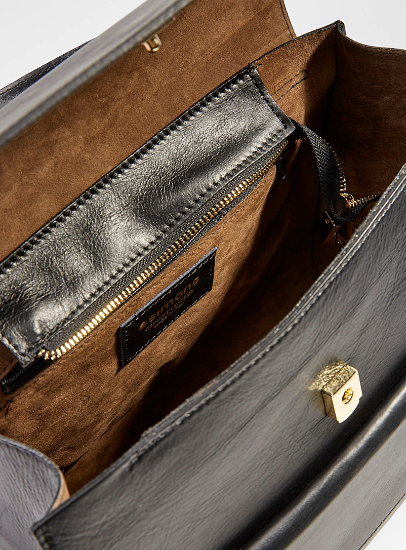 Simons Silver Leather flap double bag for women
