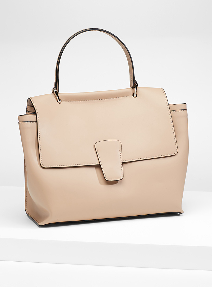 Structured bag with flap - Leather and Suede - Cream Beige