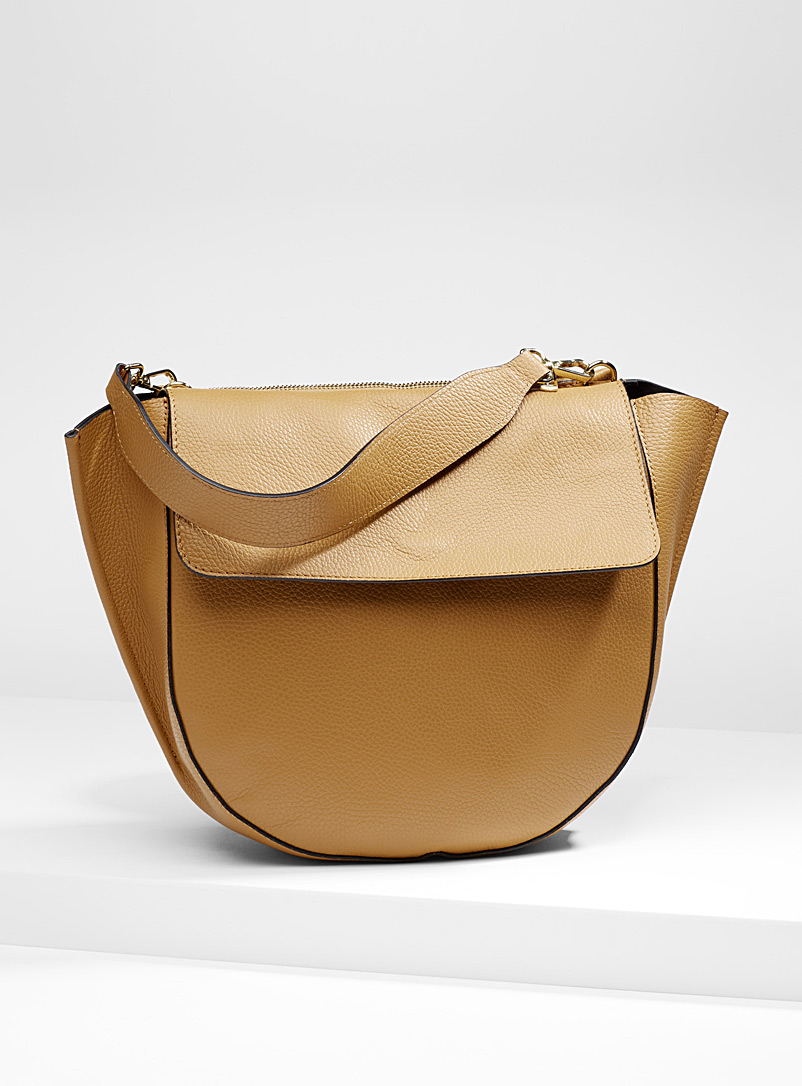 Rounded-bottom tote - Leather and Suede - Fawn