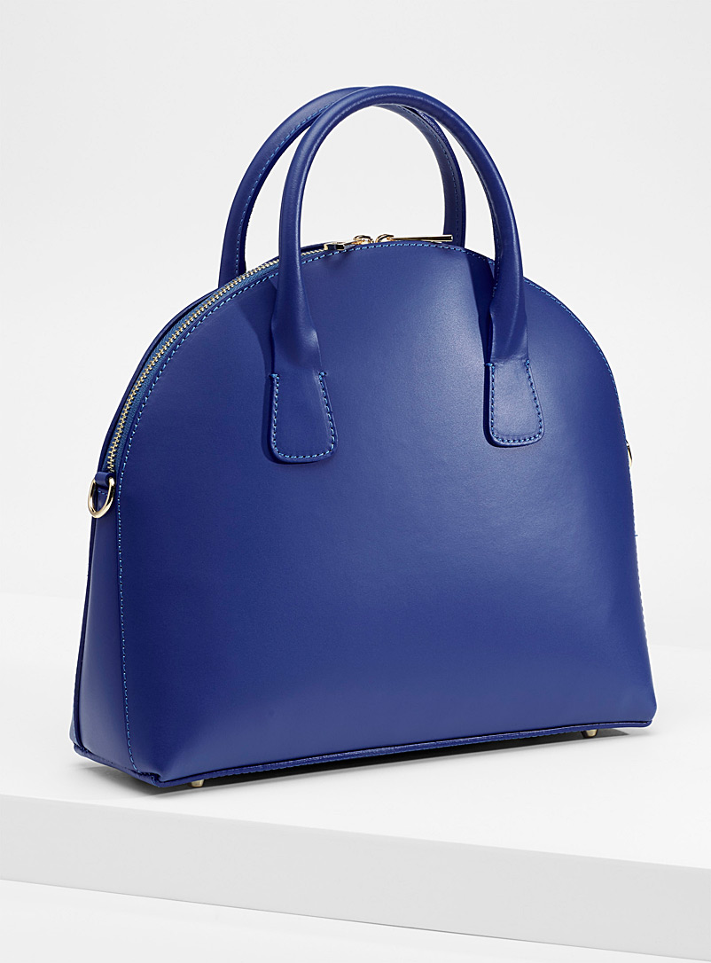 Structured smooth leather tote - Leather and Suede - Blue