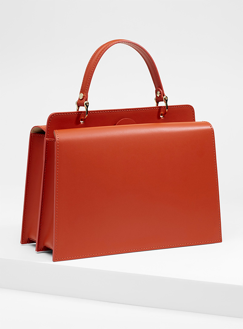 Smooth leather ladylike bag - Leather and Suede - Orange