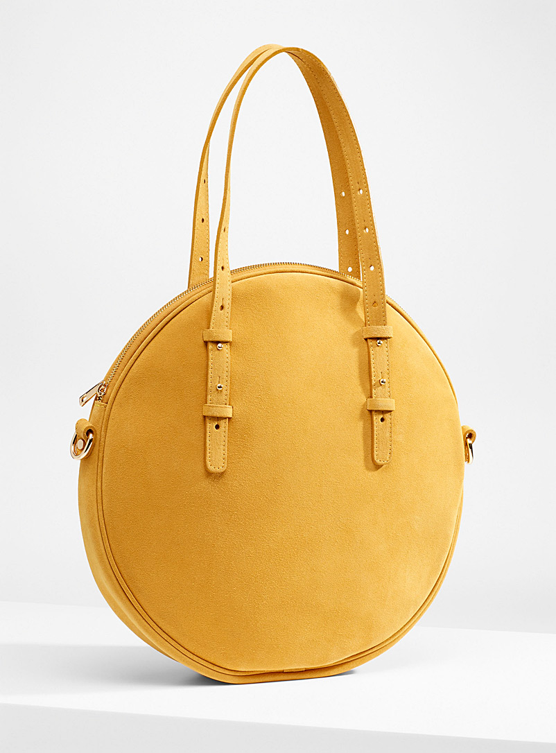 Simons Golden Yellow Round suede bag for women