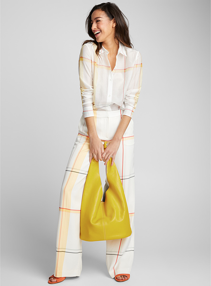 Knotted tote and clutch - Leather and Suede - Light Yellow