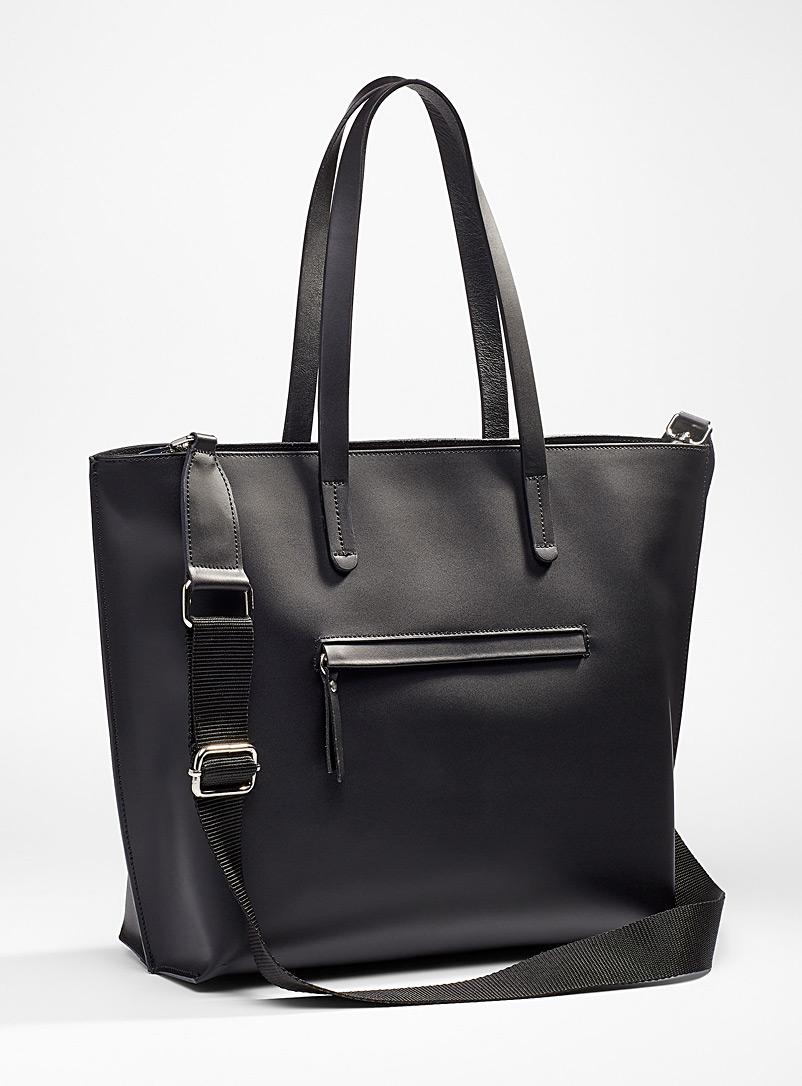 Simons Black Smooth all-leather tote for women