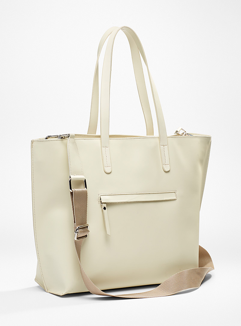 Simons Ivory White Smooth all-leather tote for women