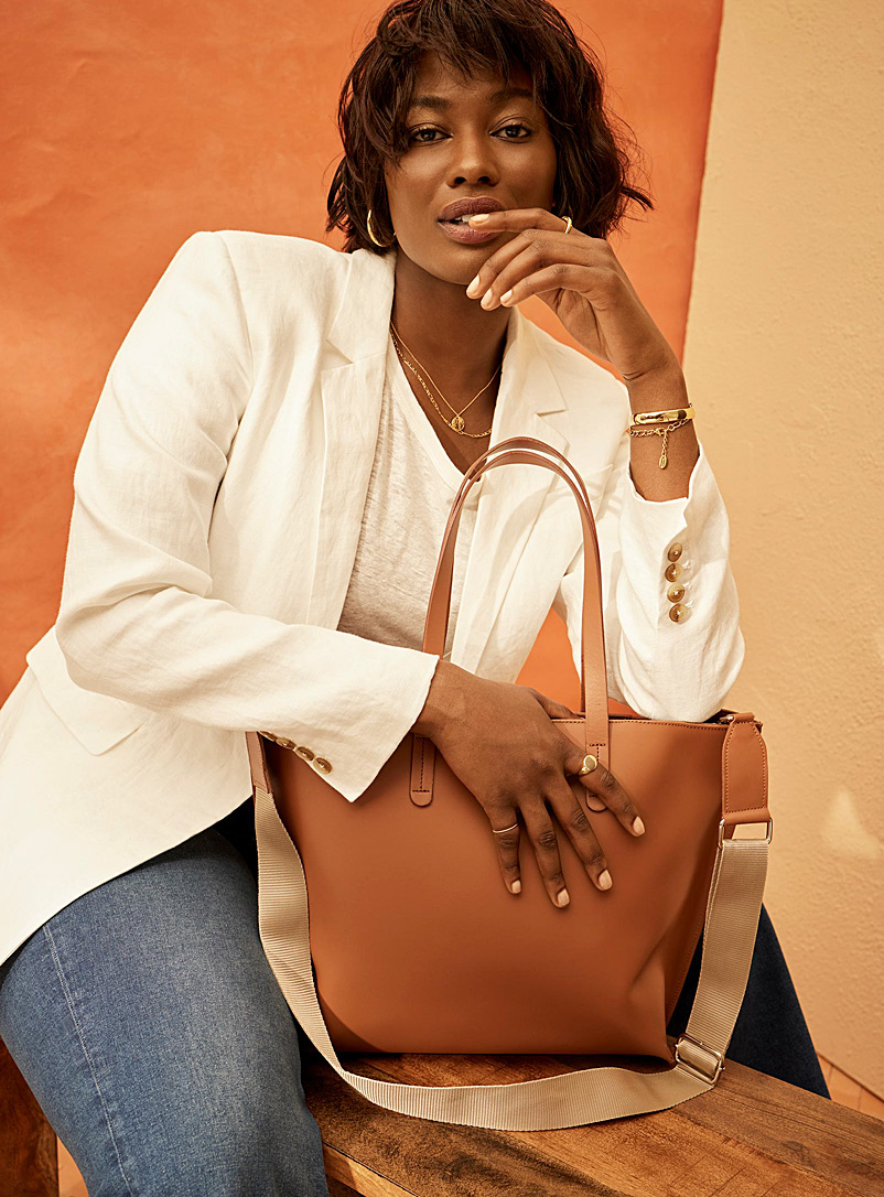 Simons Brown Smooth all-leather tote for women
