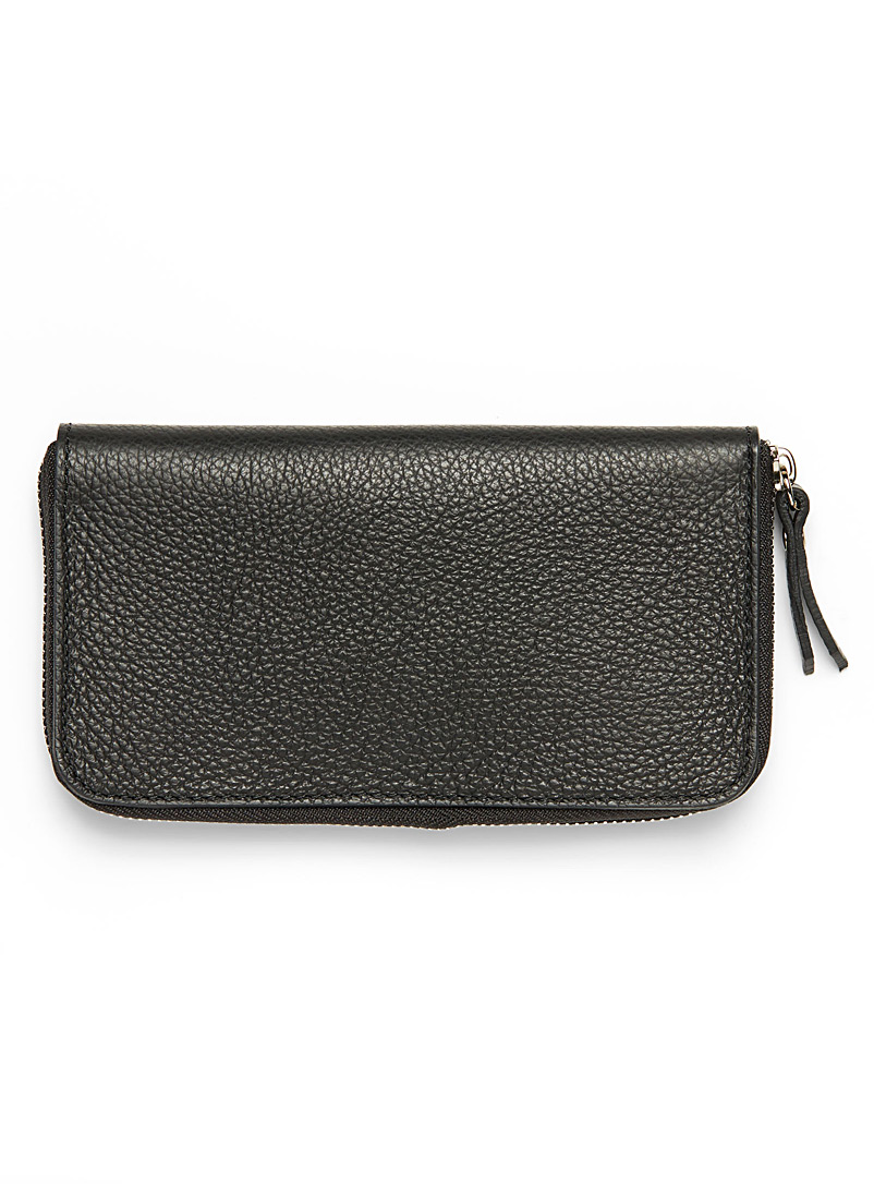 Grained leather wallet - Leather - Black