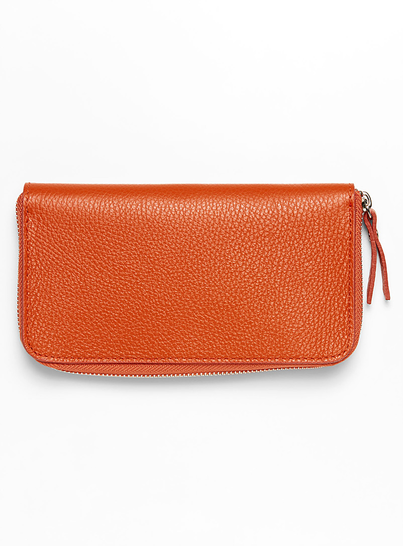 Le portefeuille cuir grainé - Cuir - Orange