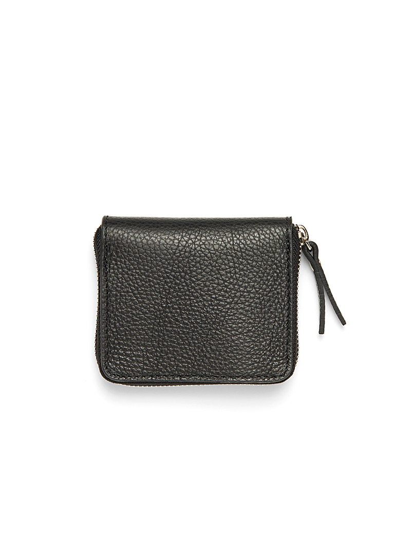 Grained leather mini wallet - Leather - Black