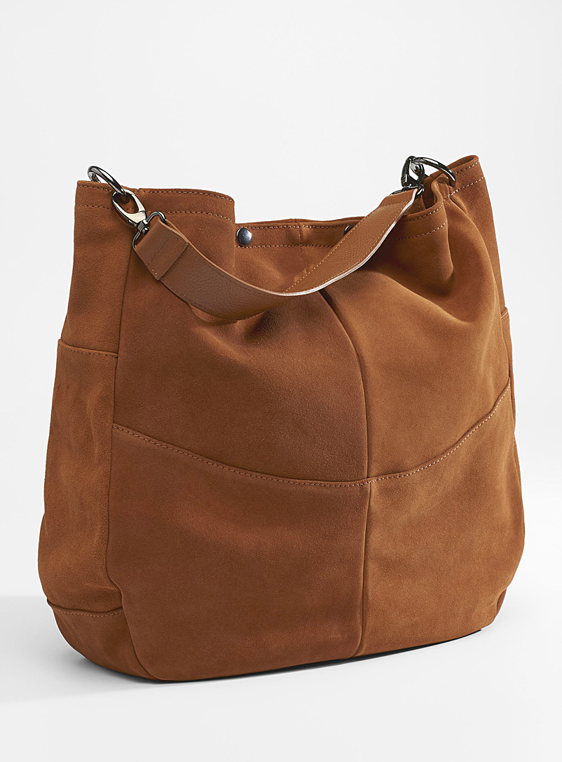Simons Fawn Oversized suede saddle bag for women
