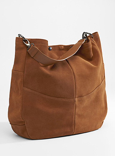 Oversized suede saddle bag