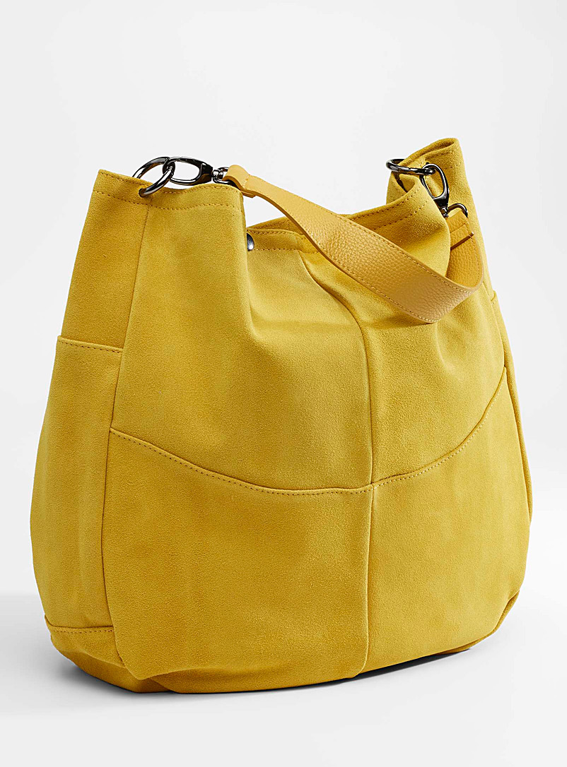 Simons Yellow Oversized suede saddle bag for women