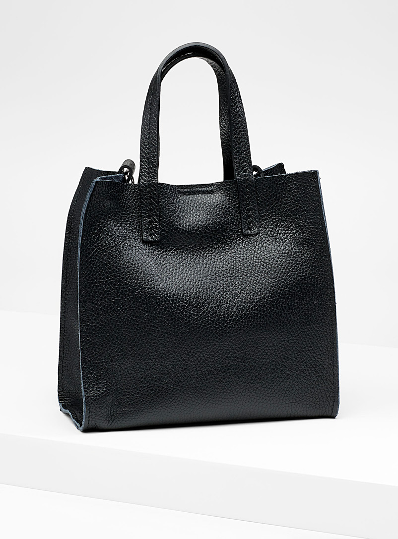 Small structured tote and clutch - Leather and Suede - Black