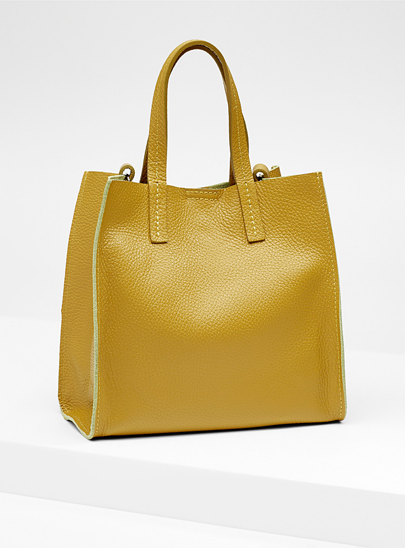 Small structured tote and clutch - Leather and Suede - Medium Yellow