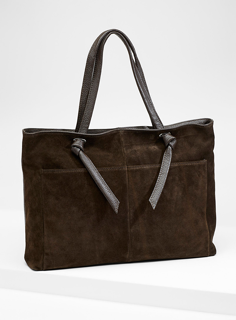 Leather and suede tote - Leather and Suede - Dark Brown