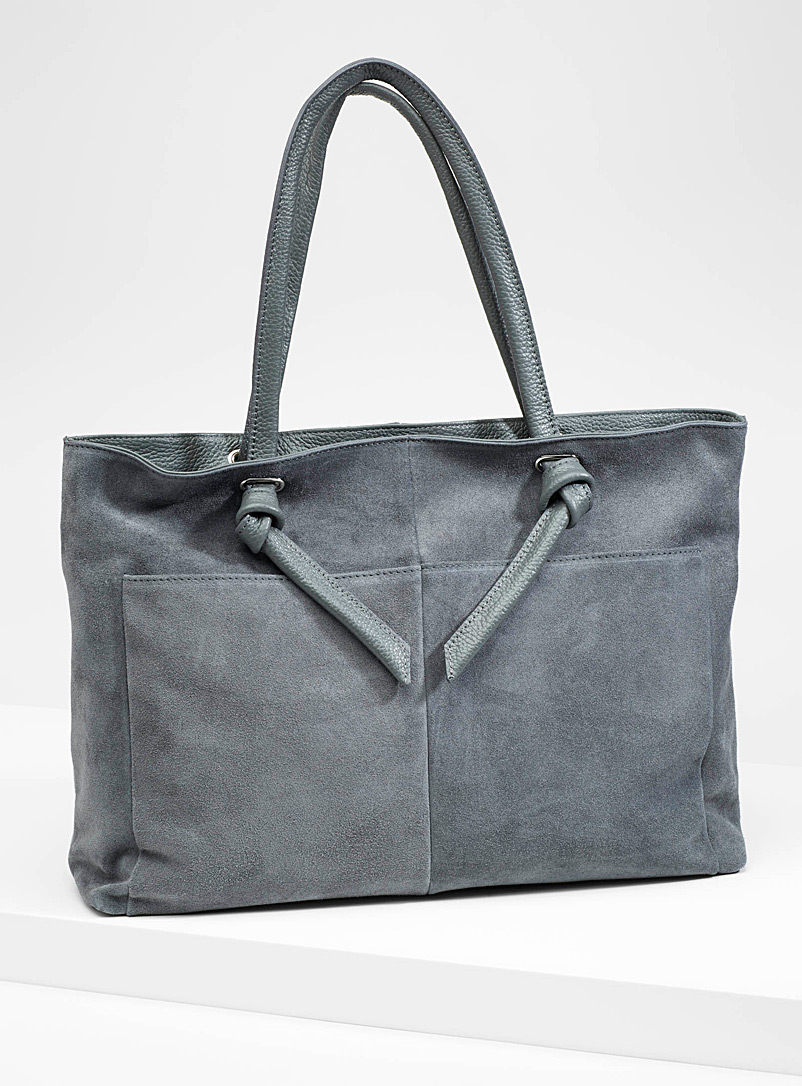 Leather and suede tote - Leather and Suede - Grey