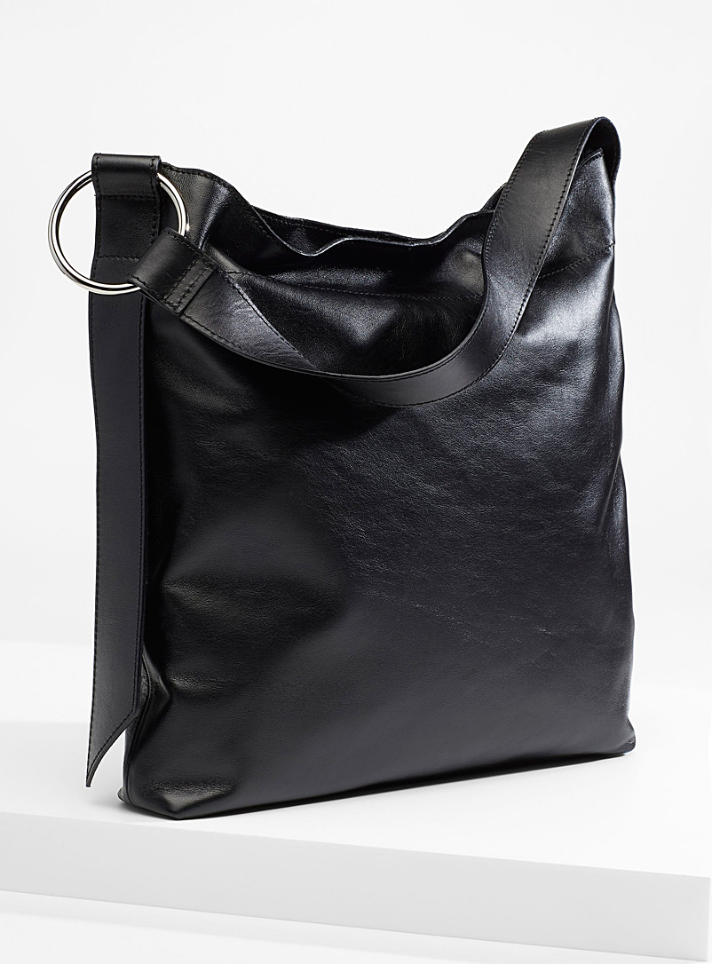 Simons Black Slim leather tote for women