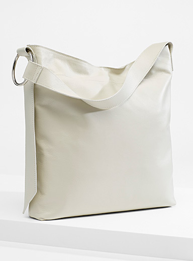 Slim leather tote