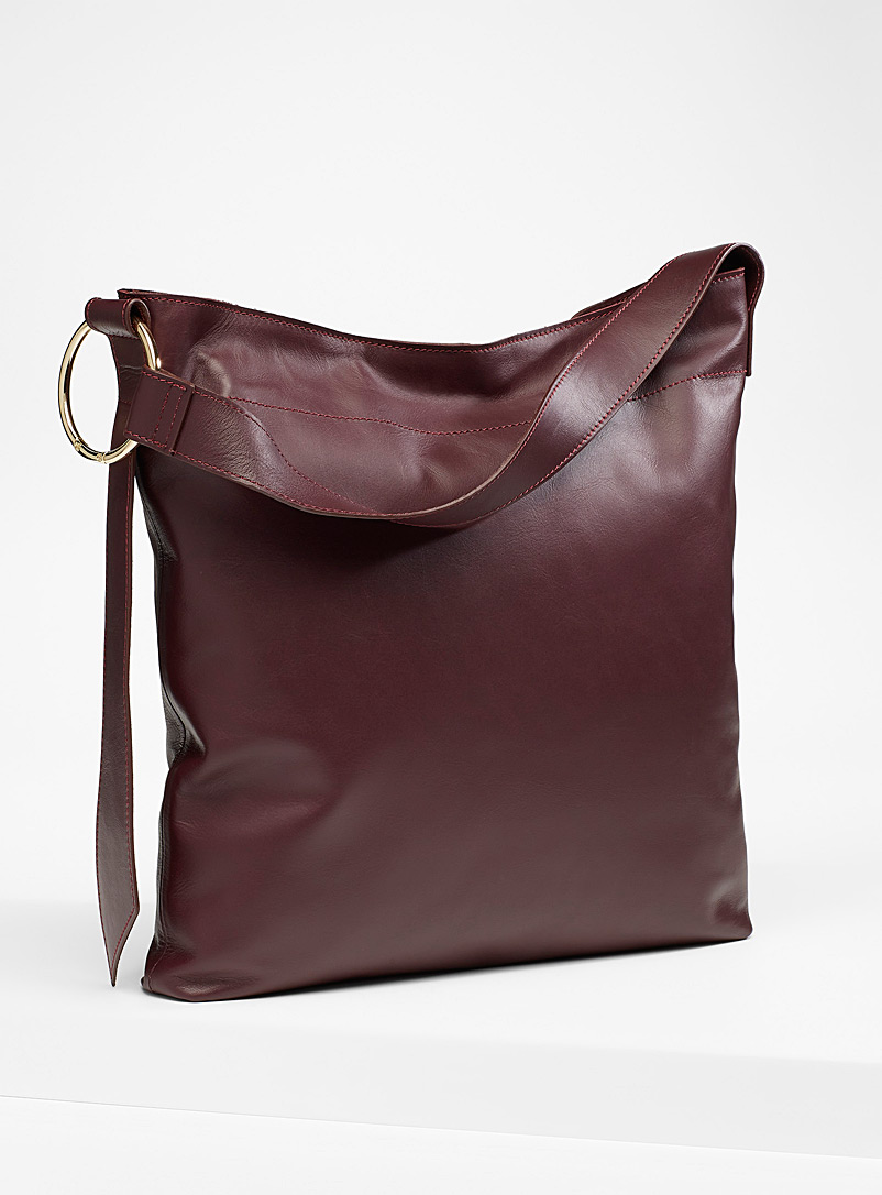 Simons Burgundy  Slim leather tote for women