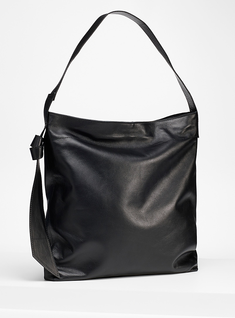Simons Black Tie accent leather tote for women