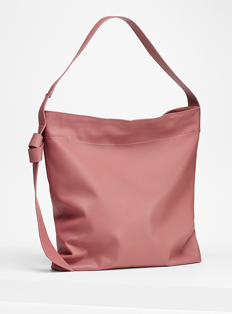 Simons Medium Pink Tie accent leather tote for women