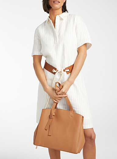 Three-section leather tote
