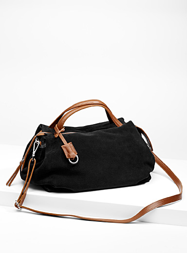 Structured suede tote