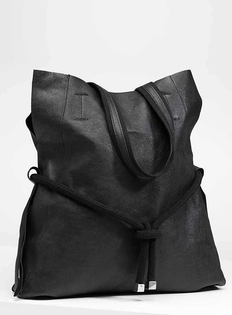 Reversible tote and clutch - Leather and Suede - Black
