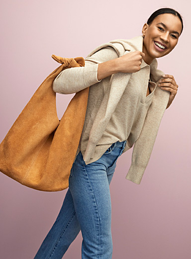 Slouchy suede knot-handle bag