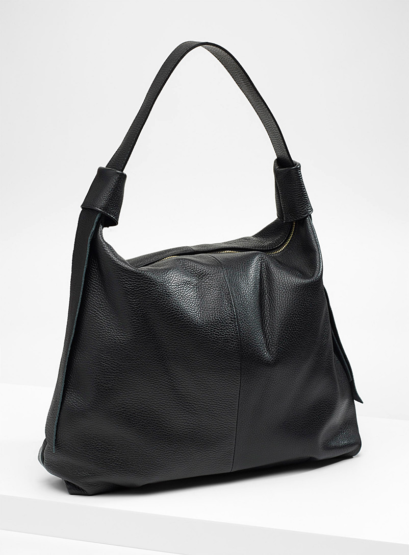 Side ribbon tote - Leather and Suede - Black