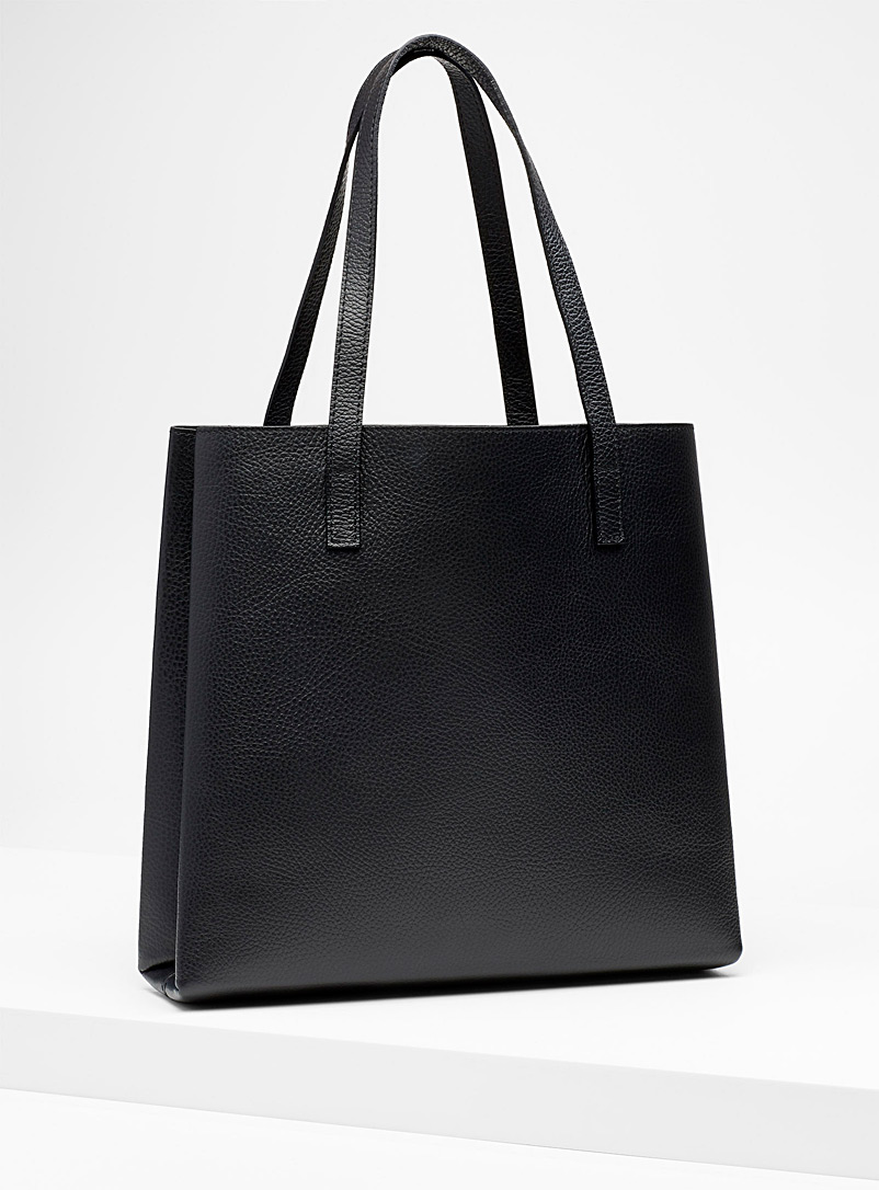 Slim tote and clutch - Leather and Suede - Black