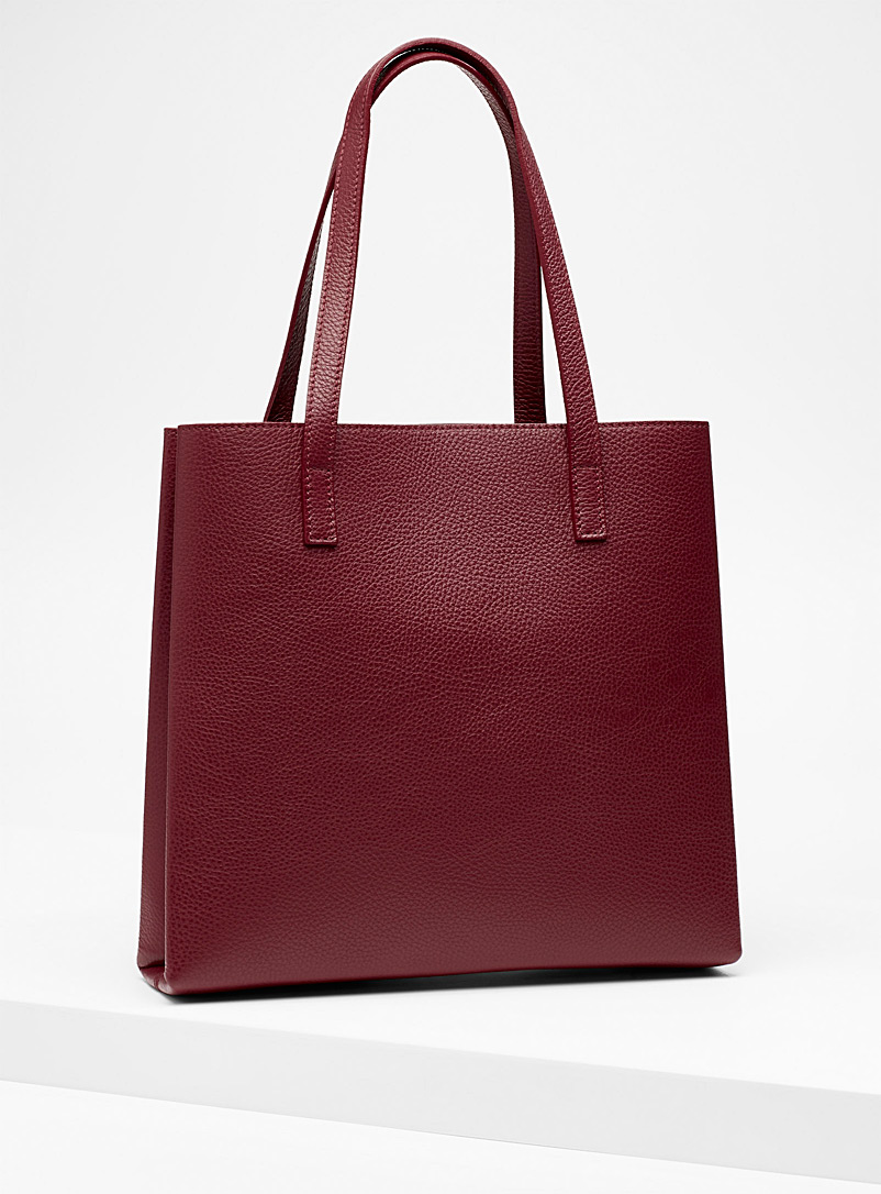 Slim tote and clutch - Leather and Suede - Ruby Red