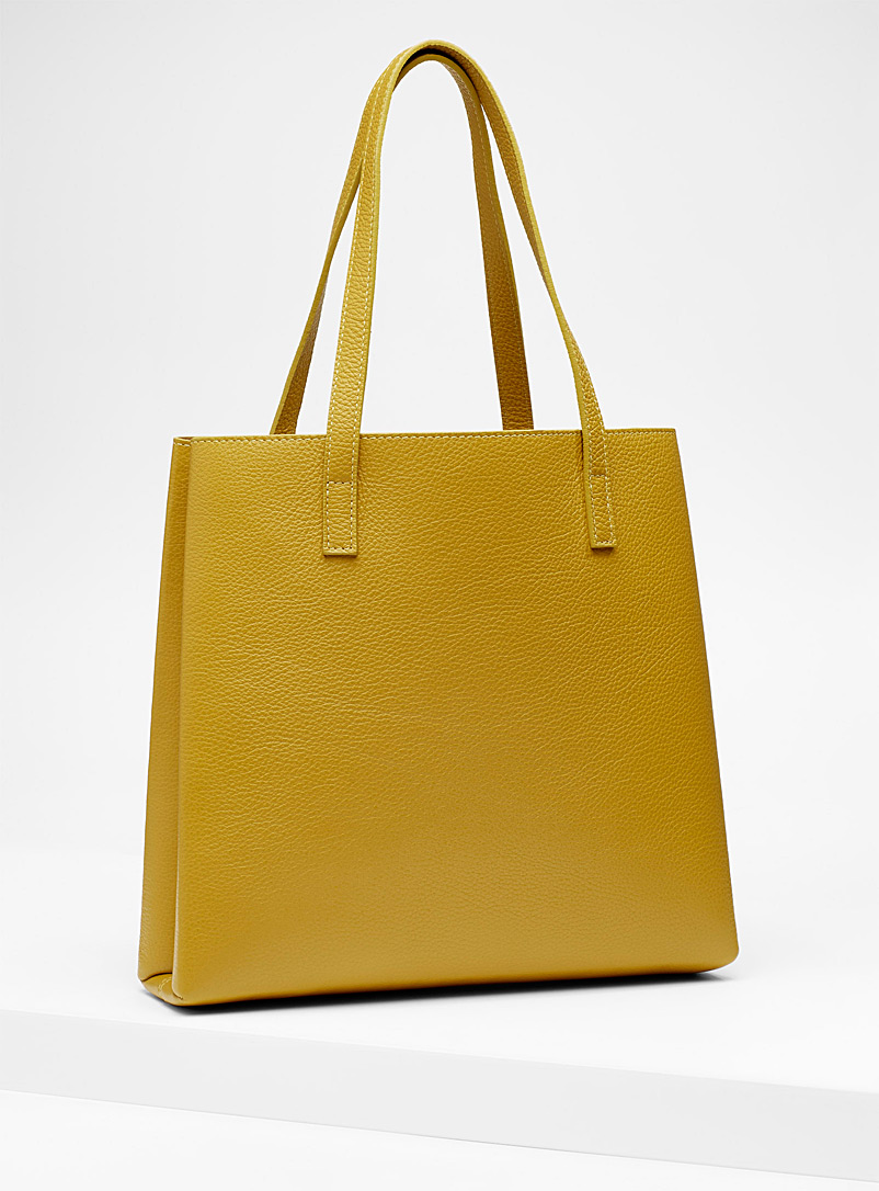 Slim tote and clutch - Leather and Suede - Medium Yellow