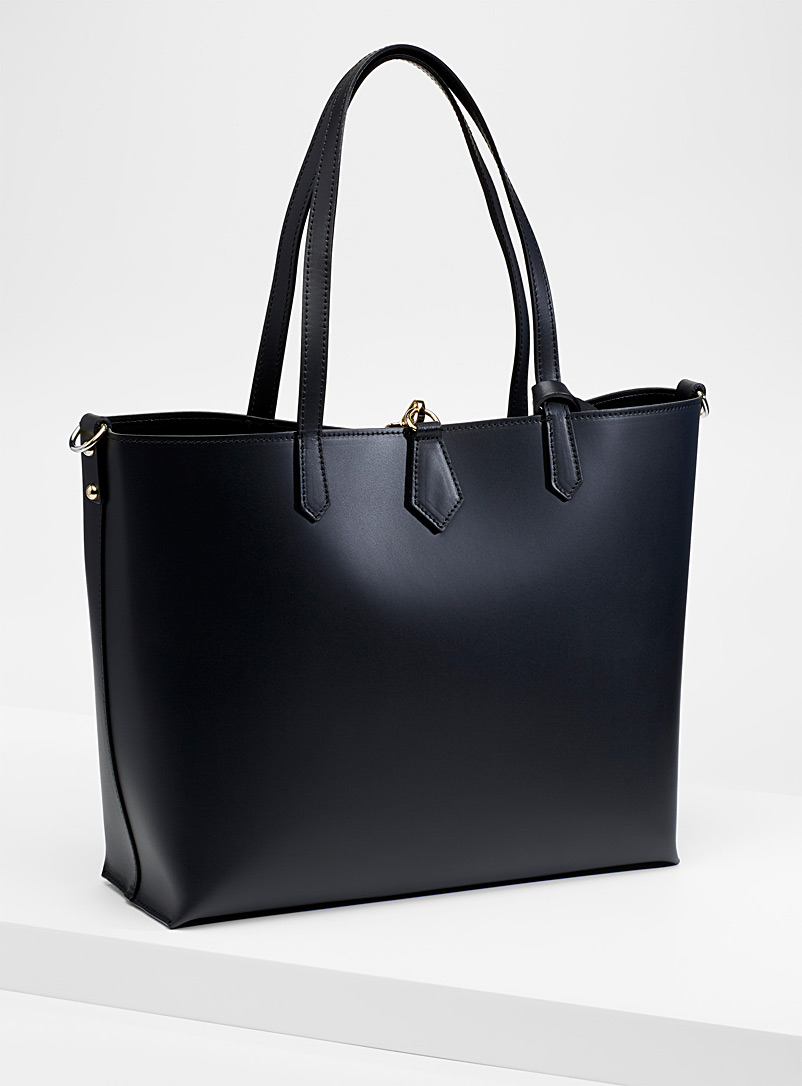 Smooth leather tote with pouches - Leather and Suede - Black