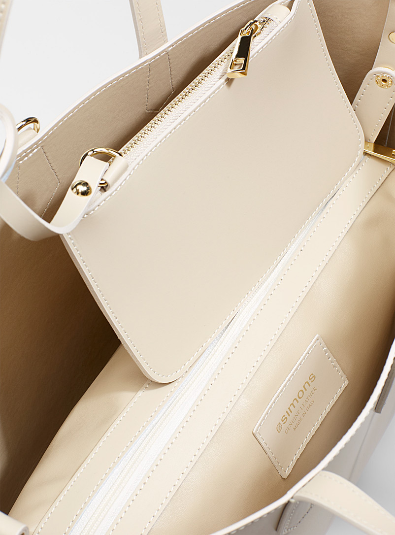 Smooth leather tote with pouches - Leather and Suede - Cream Beige