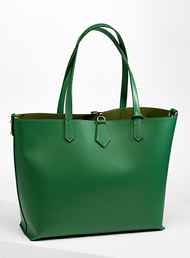 Smooth leather tote with pouches