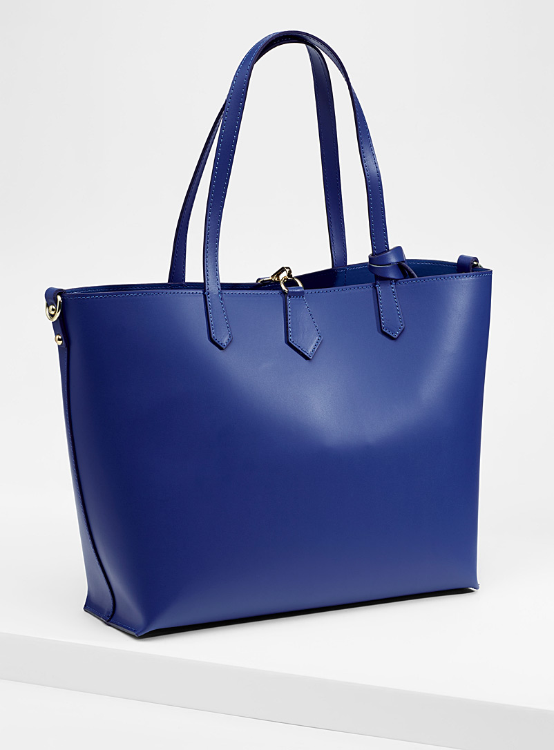 Smooth leather tote with pouches - Leather and Suede - Blue