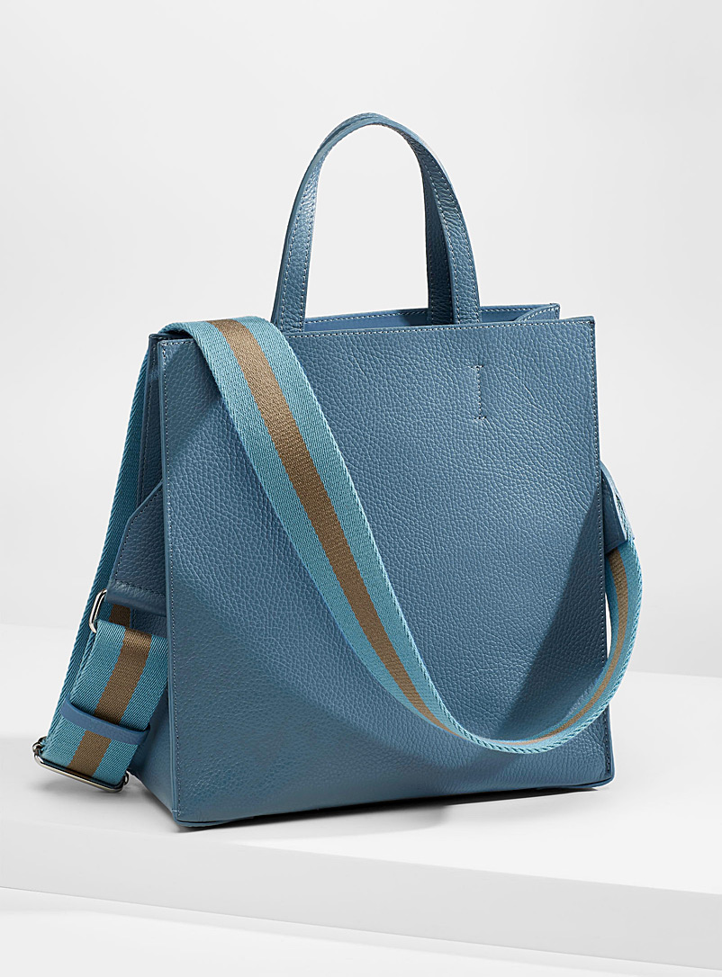 Simons Slate Blue Minimalist leather tote and clutch for women