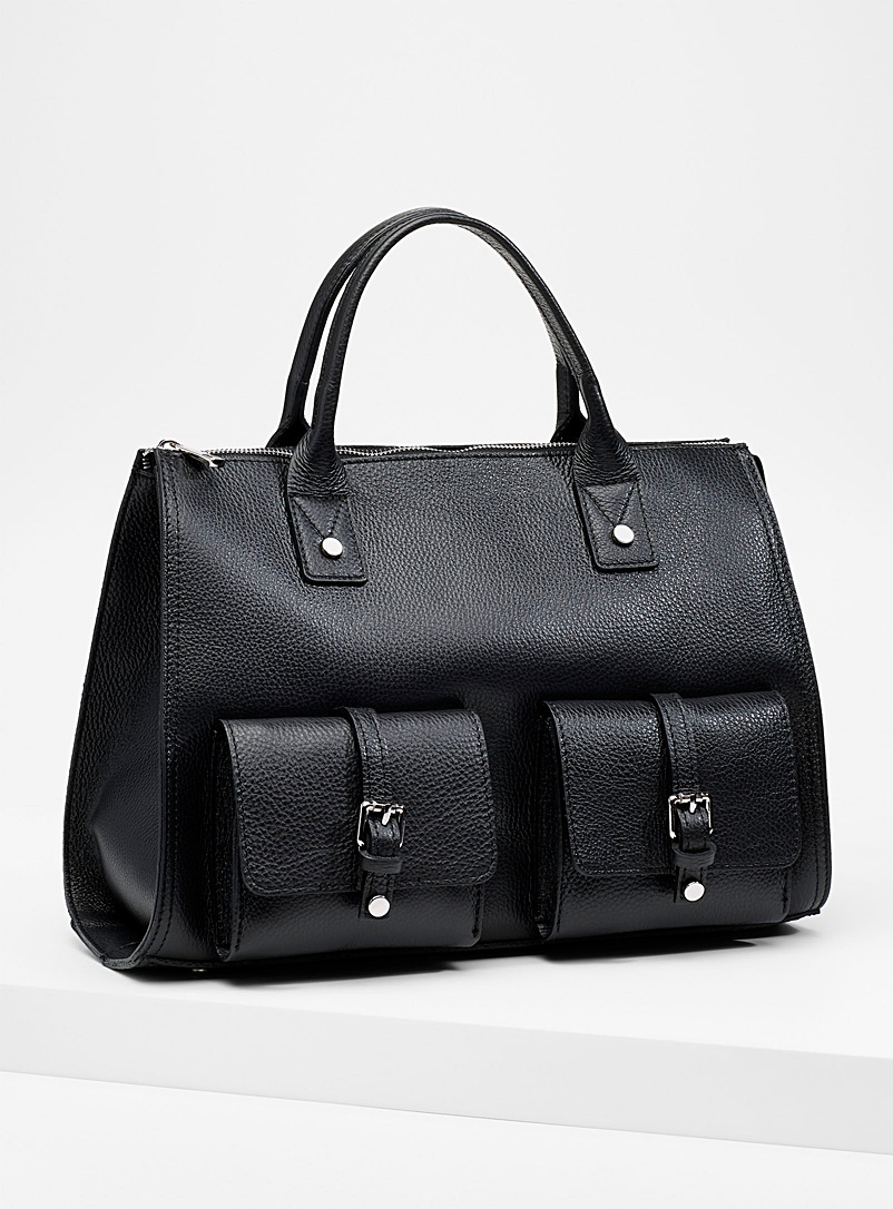 Belted pocket tote - Leather and Suede - Black