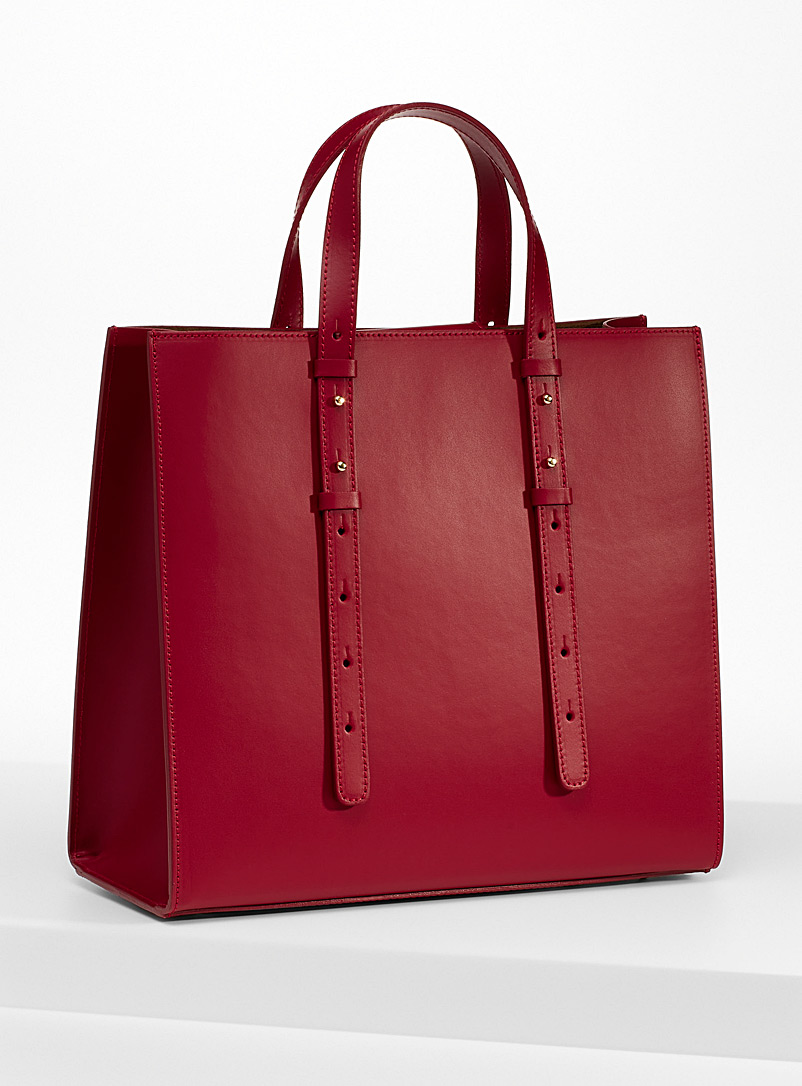 Simons Ruby Red Large minimalist tote for women