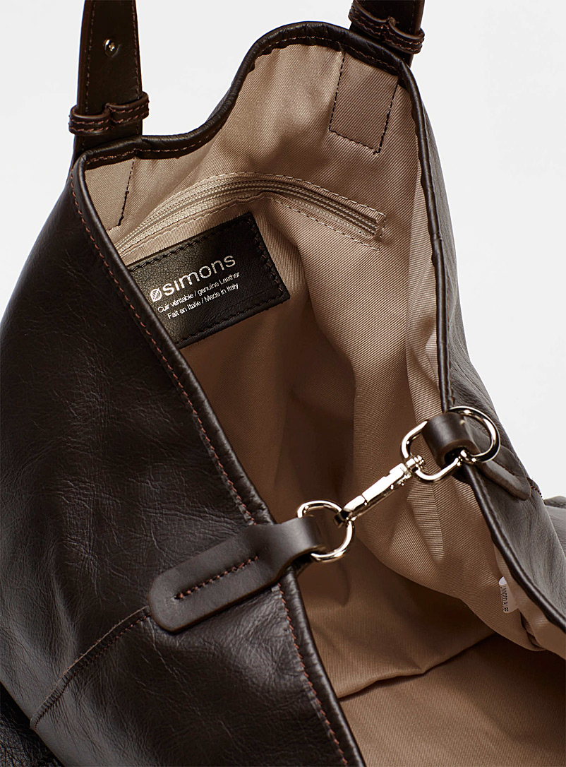 Simons Copper Large supple leather tote for women